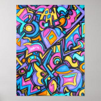Poster Formes lunatiques audacieuses colorées géniales