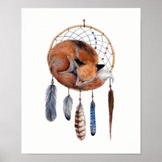 Poster Fox rouge dormant sur Dreamcatcher