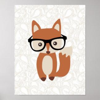 Poster Fox w/Glasses de bébé de hippie