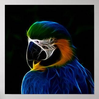 Poster Fractale bleue de perroquet de Digitals