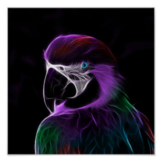Poster Fractale pourpre de perroquet de Digitals