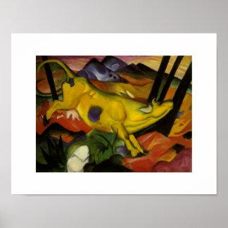 Poster Franz Marc vintage la vache jaune