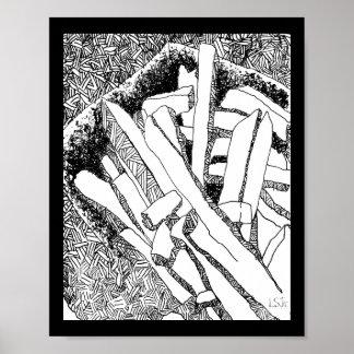 Poster frontière noire de pommes frites