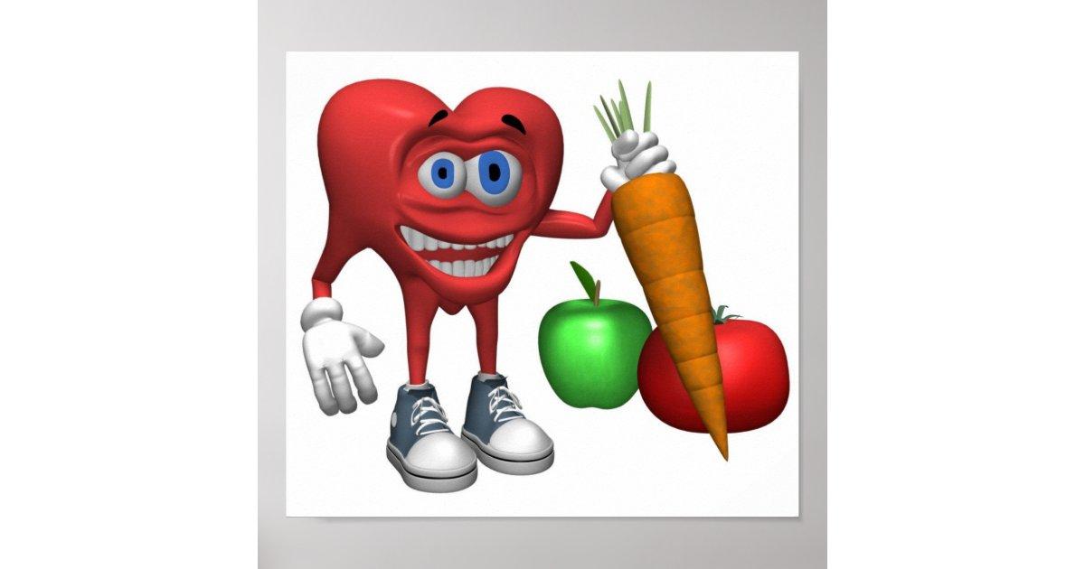 Poster fruits et l gume de coeur de nourriture sant - Fruits et legumes de a a z ...
