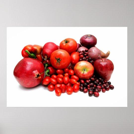 Poster fruits et l gumes rouges - Fruits et legumes de a a z ...