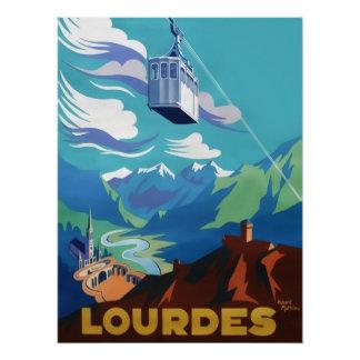 Poster Funiculaire au-dessus de Lourdes, affiche vintage