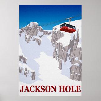 Poster Funiculaire de station de sports d'hiver de