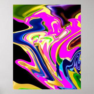 Poster Fusée rose d'énergie - motif curatif romantique