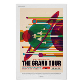 Poster Future Sci fi affiche de voyage de la NASA - la