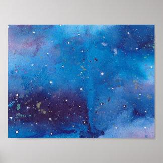 Poster Galaxie bleu-foncé