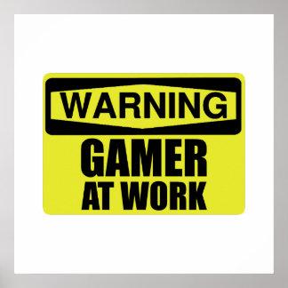 Poster Gamer de panneau d'avertissement au travail drôle
