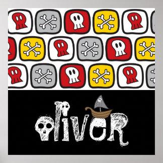 Poster Garçons colorés d'amusement d'os de crânes de