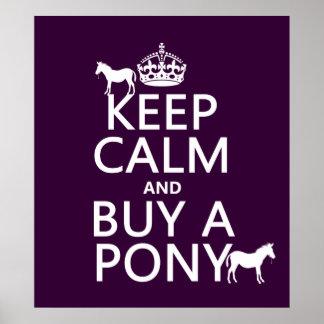 Poster Gardez le calme et achetez un poney - toutes les