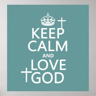 Poster Gardez le calme et aimez Dieu - toutes les