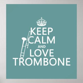 Poster Gardez le calme et aimez le trombone (toute