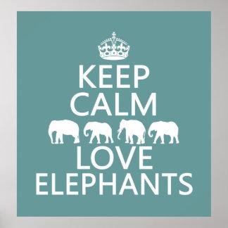 Poster Gardez le calme et aimez les éléphants (les