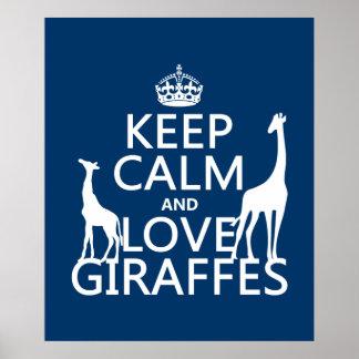 Poster Gardez le calme et aimez les girafes - toutes les