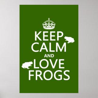 Poster Gardez le calme et aimez les grenouilles (toute