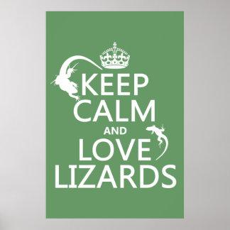 Poster Gardez le calme et aimez les lézards - toutes les