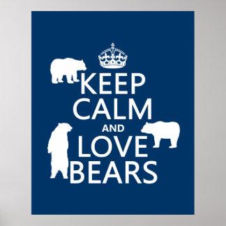 Poster Gardez le calme et aimez les ours (dans toutes les