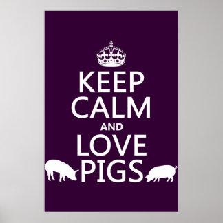 Poster Gardez le calme et aimez les porcs (toutes les