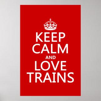 Poster Gardez le calme et aimez les trains (les couleurs