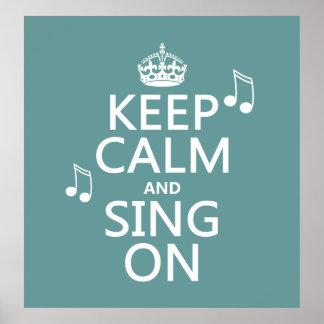 Poster Gardez le calme et chantez dessus - toutes les