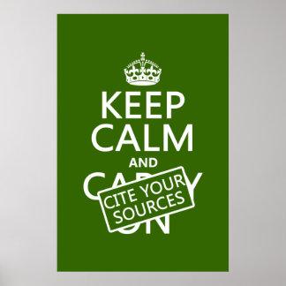Poster Gardez le calme et citez vos sources (dans toute