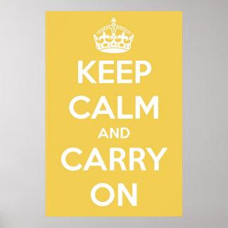 Poster Gardez le calme et continuez le jaune et le blanc