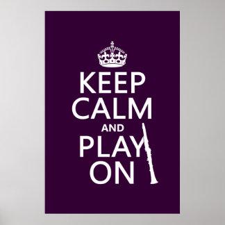 Poster Gardez le calme et le jeu sur (clarinette) (toute