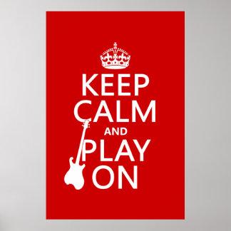 Poster Gardez le calme et le jeu sur (guitare) (toute
