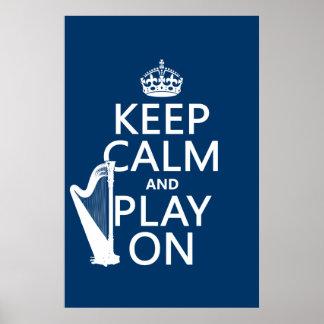 Poster Gardez le calme et le jeu sur (harpe) (toute