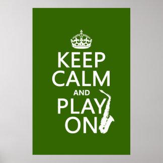 Poster Gardez le calme et le jeu sur (saxophone) (toute