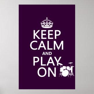 Poster Gardez le calme et le jeu sur (tambours) (toute