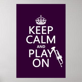 Poster Gardez le calme et le jeu sur (trompette) (toutes