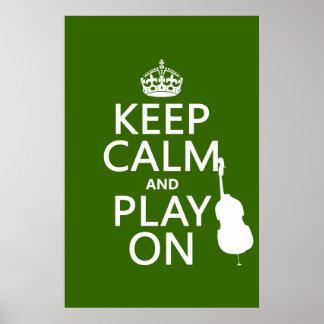 Poster Gardez le calme et le jeu sur (violoncelle) (toute