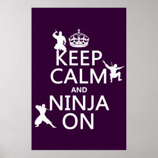 Poster Gardez le calme et le Ninja sur (dans toute