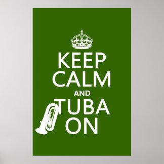 Poster Gardez le calme et le tuba sur (toute couleur