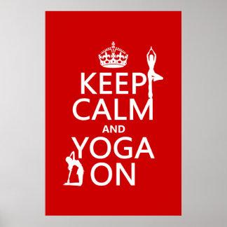 Poster Gardez le calme et le yoga sur (les couleurs de