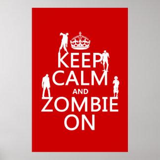 Poster Gardez le calme et le zombi sur (dans toute