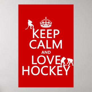 Poster Gardez le calme et l'hockey dessus
