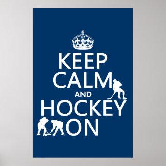 Poster Gardez le calme et l'hockey sur (dans toute