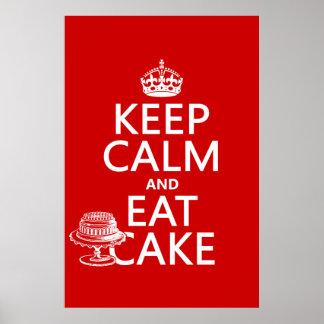 Poster Gardez le calme et mangez le gâteau
