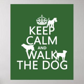 Poster Gardez le calme et marchez le chien - toutes les