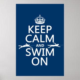 Poster Gardez le calme et nagez sur (dans toute couleur)