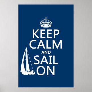 Poster Gardez le calme et naviguez dessus - toutes les