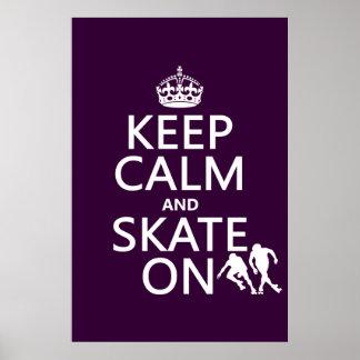 Poster Gardez le calme et patinez sur (les rollerskaters)