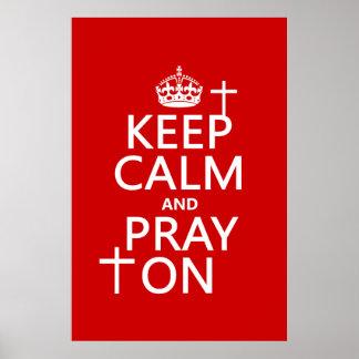 Poster Gardez le calme et priez dessus - tout colore
