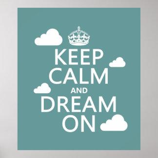 Poster Gardez le calme et rêvez dessus (des nuages) -