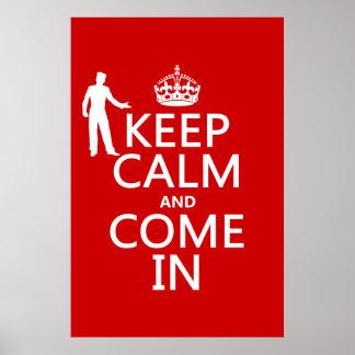 Poster Gardez le calme et venez dans (le signe bienvenu)